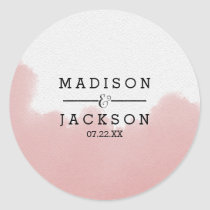 Peach Coral Watercolor Brush Strokes Wedding Classic Round Sticker
