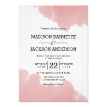 Peach Coral Watercolor Strokes Wedding Invitation