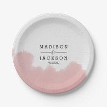 Peach Coral Watercolor Strokes Wedding Monogram Paper Plate
