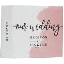 Peach Coral Watercolor Strokes Wedding Photo Album Binder