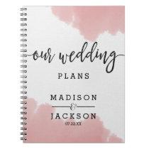 Peach Coral Watercolor Strokes Wedding Planner Notebook