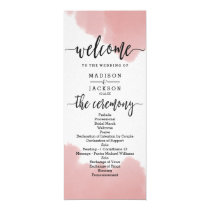 Peach Coral Watercolor Strokes Wedding Program