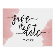 Peach Coral Watercolor Wedding Save the Date Postcard
