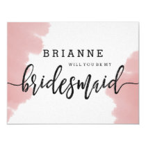 Peach Coral Watercolor Will You Be My Bridesmaid Card