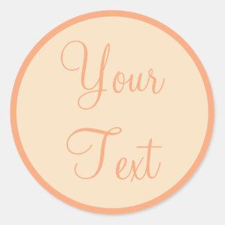 Peach & Cream Envelope Seals with Custom Text Round Sticker