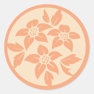 Peach & Cream Floral Wedding Envelope Seals Round Sticker