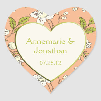 Peach Cream Green Flowers Wedding Sticker