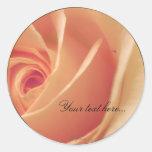 Peach Cream Rose Wedding Invitations Seals Stickers