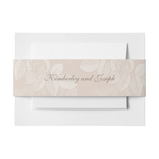 Peach Cream Roses Envelope Belly Bands Invitation Belly Band