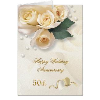 Peach cream roses hearts 50th Wedding Anniversary Greeting Cards