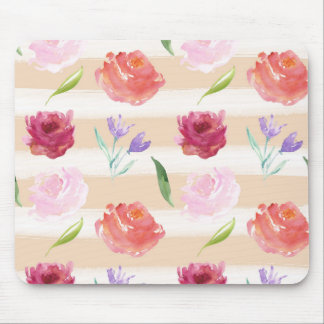 Peach Cream Stripes Watercolor Flowers Mouse Pad