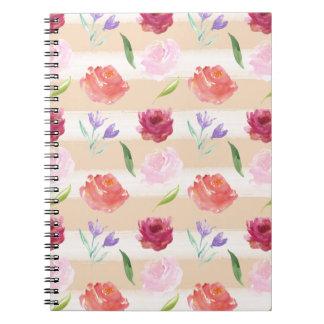 Peach Cream Stripes Watercolor Flowers Notebook