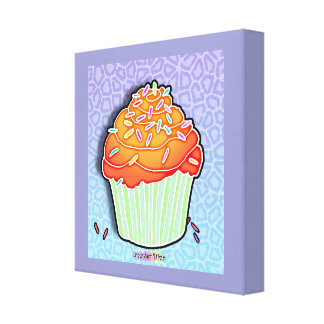 Peach Cupcake Gallery Wrapped Canvas