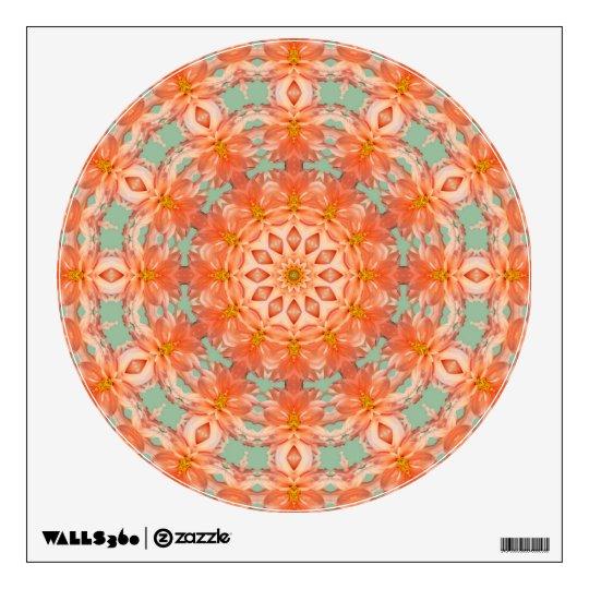 Peach Dahlia Om Mandala Wall Decal