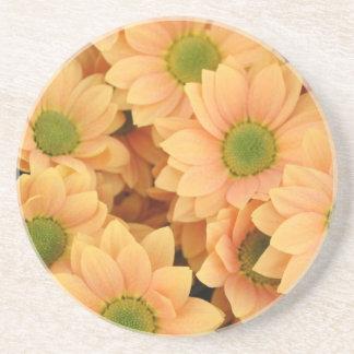 Peach Daisies With Green Center Coaster
