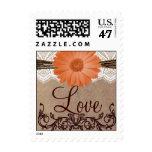 Peach Daisy Flower LOVE Wedding Postage Stamps