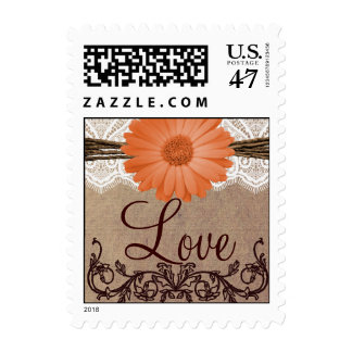 Peach Daisy Flower LOVE Wedding Postage Stamps
