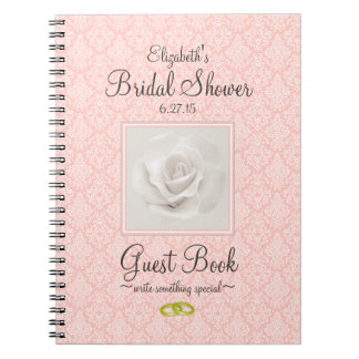 Peach Damask and Rose Bridal Shower Guest Book -