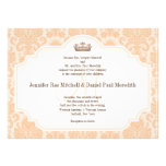 Peach Damask Chocolate Brown Wedding Wording Announcement