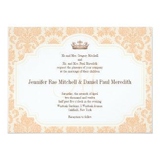 "Peach Damask Chocolate Brown Wedding Wording 5.5"" X 7.5"" Invitation Card"