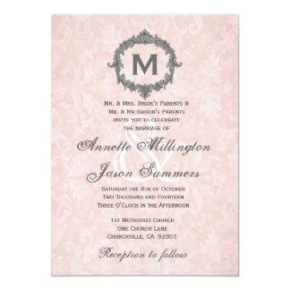 Peach Damask Gray Vintage Frame Monogram Wedding 5x7 Paper Invitation Card