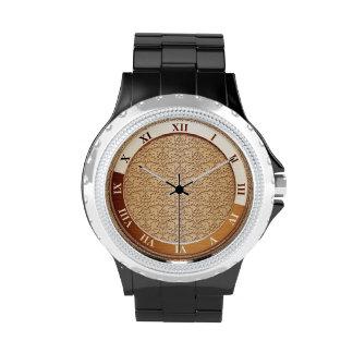 Peach Damask Metallic Wristwatches