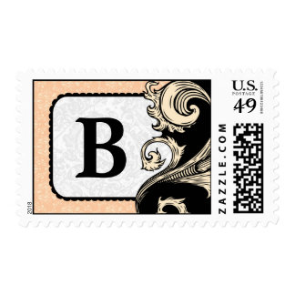 Peach Damask Monogram Postage Stamps