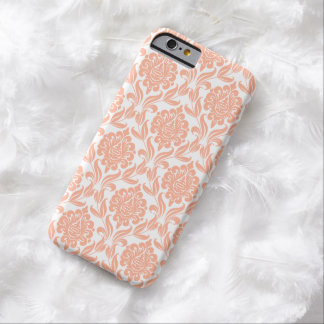 Peach Damask Pattern Barely There iPhone 6 Case