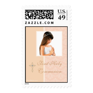 Peach Damask Photo Postage Stamp