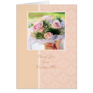 Peach Damask Photo Thank You Greeting Cards