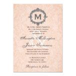 Peach Damask Silver Vintage Monogram Wedding 5x7 Paper Invitation Card