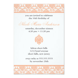 Peach Damask Sweet Sixteen Invitations