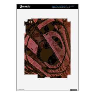 Peach Dark Brown Abstract Swirls Skin For iPad 3