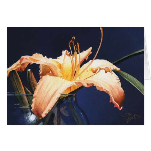 Peach Day Lily Greeting Card