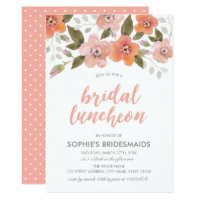 Peach Delicate Floral Bridal Luncheon Card