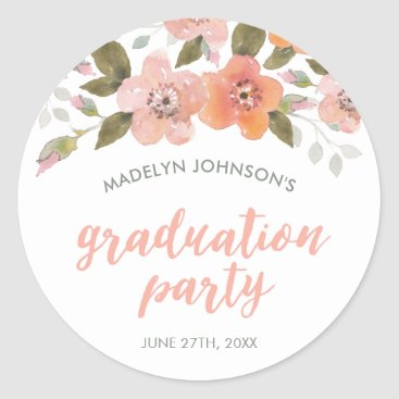 Aztec Themed Peach Delicate Floral Graduation Party Classic Round Sticker