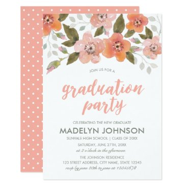 Aztec Themed Peach Delicate Floral Graduation Party Invitation