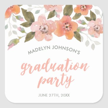 Aztec Themed Peach Delicate Floral Graduation Party Square Sticker