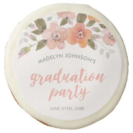 Peach Delicate Floral Graduation Party Sugar Cookie