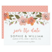 Peach Delicate Floral Save the Date Card