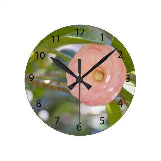 Peach double Camellia Wallclock