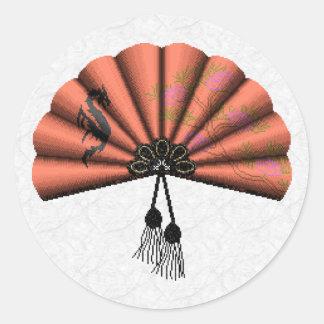 Peach Dragon Fan Pixel Art Classic Round Sticker