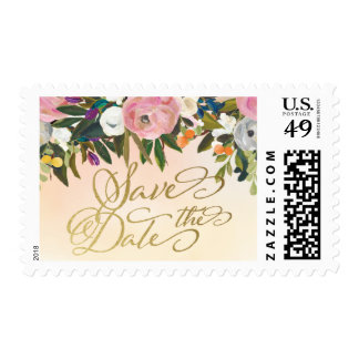 Peach Dream Garden Floral Save the Date Stamps