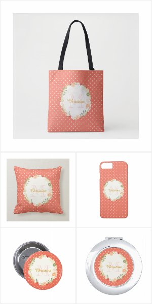 Peach Echo and Gold Dots Floral