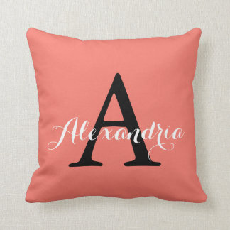 Peach Echo Soft Orange Coral Solid Color Monogram Throw Pillow