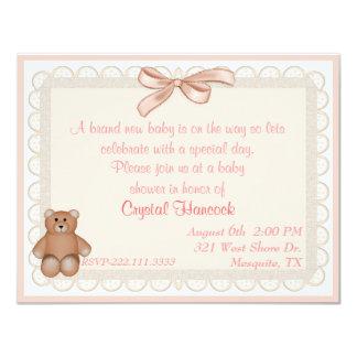 Peach Eyelet Sweet Baby Shower Invitation