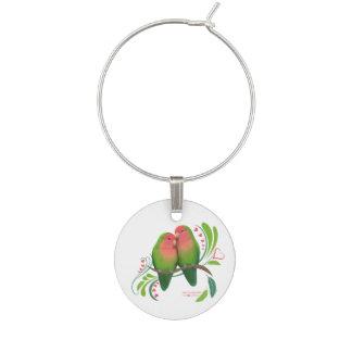 Peach Faced Love Birds Wine Glass Charms