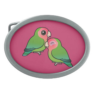 Peach-faced Lovebird Adorable Pair Belt Buckles