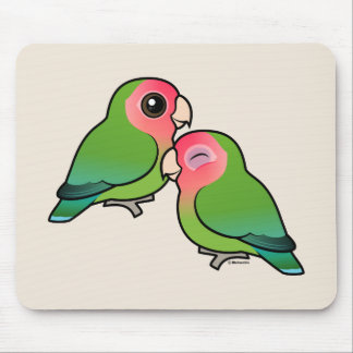 Peach-faced Lovebird Adorable Pair Mouse Pad