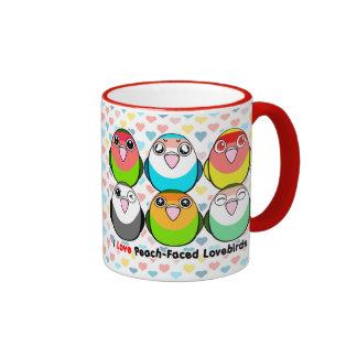 Peach-faced lovebirds ringer coffee mug